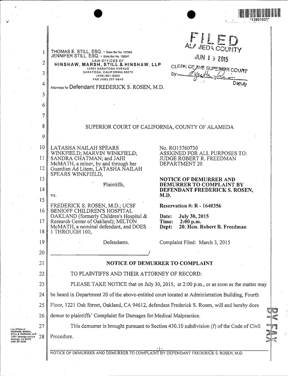 Jahi McMath Malpractice Lawsuit – June 2015 Update | Bioethics