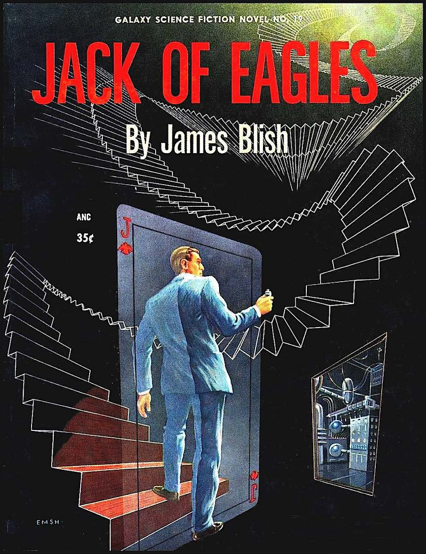 "an Ed Emshwiller illustration for ""Jack of Eagles"" by James Blish, a Galaxy novel"