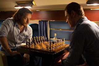 James McAvoy and Michael Fassbender as Professor Charles Xavier and Magneto play Chess in X Men Days of Future Past
