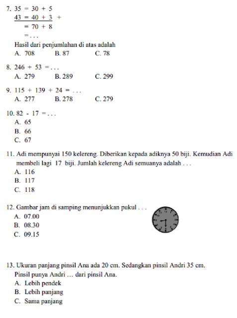 Soal  matematika  kelas  2 sd semester  1  Dan  Kunci Jawaban
