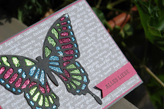 Stampin Up Karte mit Patchwork Glittertechnik und Schmetterling (Big Shot Stanze)