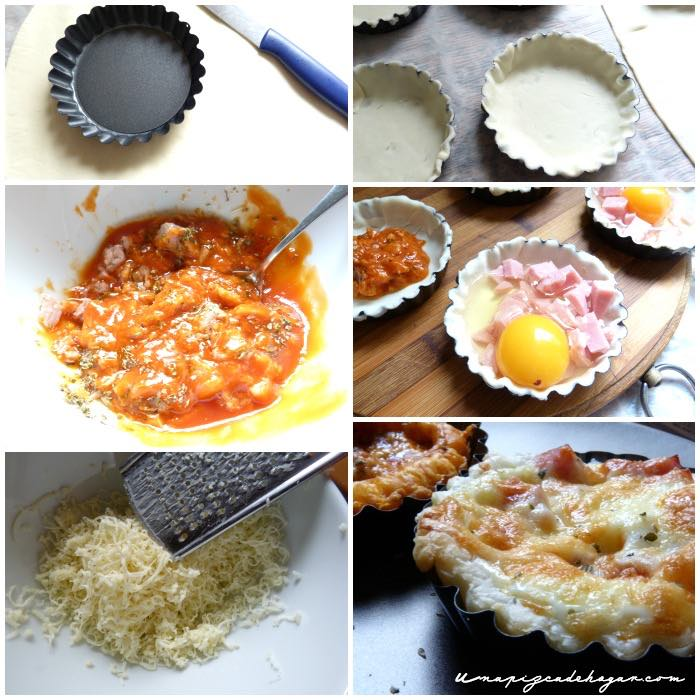 hojaldre con queso, huevo, jamón, bacon, tomate