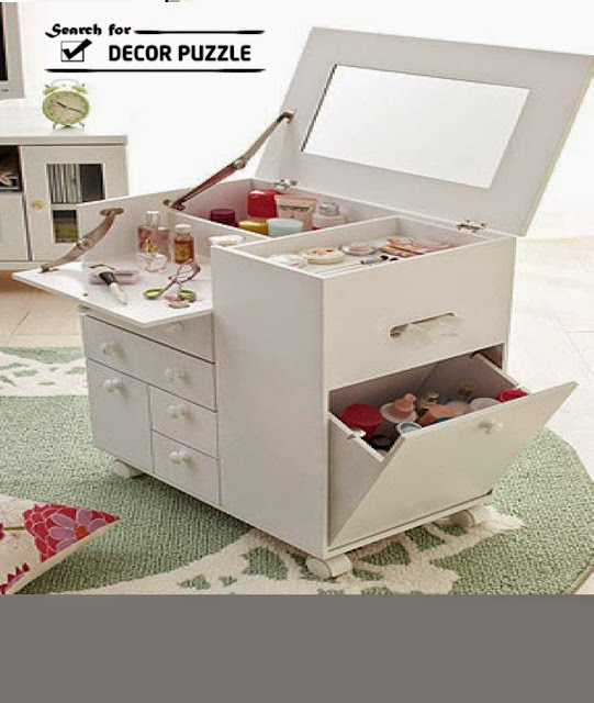 modern small white dressing table with folding mirror