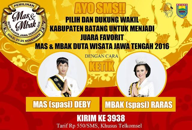 Dukung Mas Deby dan Mbak Raras jadi Juara Favorit Mas dan Mbak Duta Wisata Jawa Tengah 2016