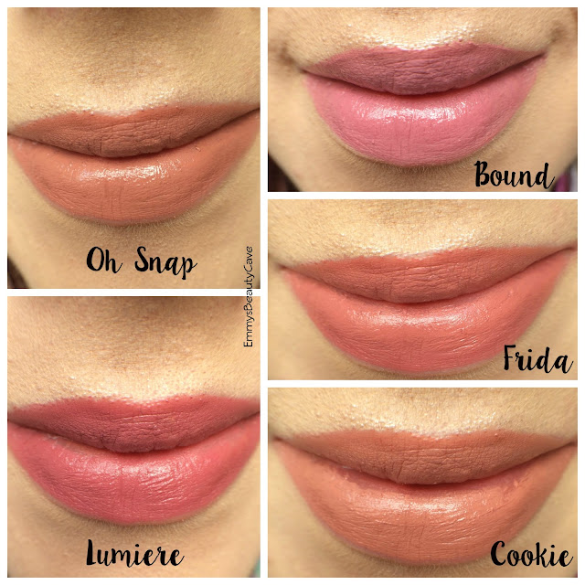 ColourPop Lippie Stix Swatches Bound, Friday, Cookie, Oh Snap, Lumiere
