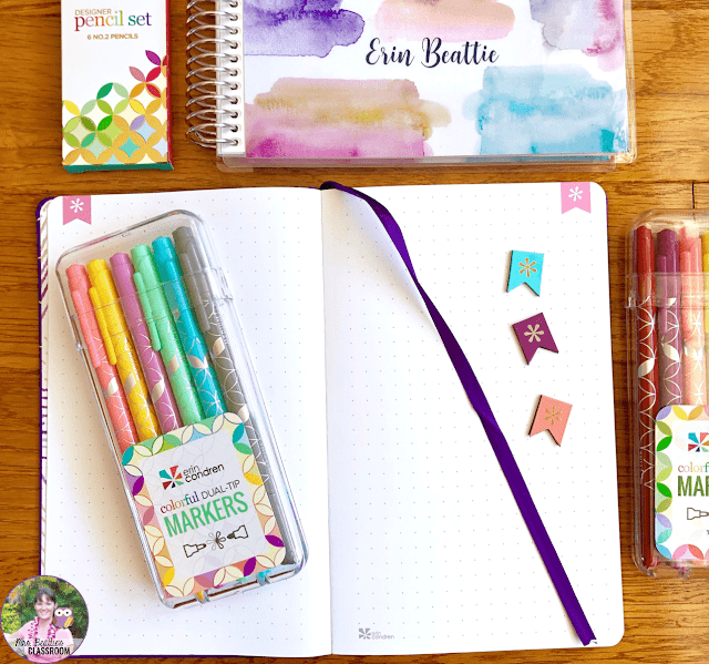 Journaling Supplies - Open Softbound Notebook and Markers from Erin Condren