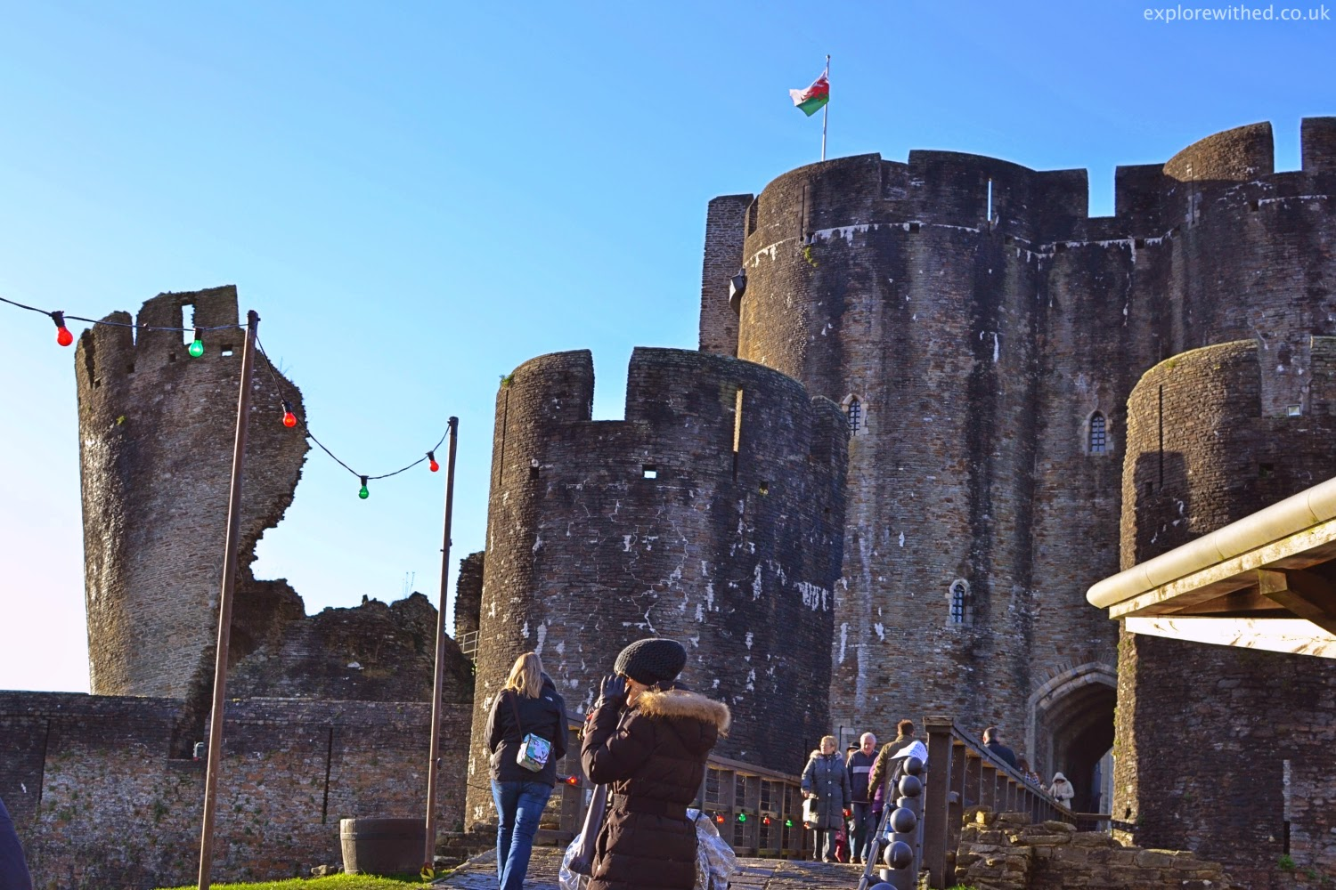 Caerphilly Castle with Christmas Lights