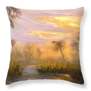 Contemporary throw pillow with sunset