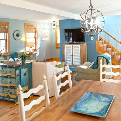 Blue Coastal Living Room with Sea Life Rug & Drawer Chest ...