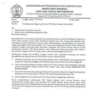 Penetapan dan Registrasi Peserta PPGJ 2018