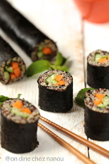 sushis , quinoa , vegan , végétarien , sans allergène , déjeuner équilibré ,#healthy #vegan