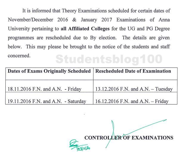Anna University Nov/Dec 2016 UG/PG examination rescheduled due to election