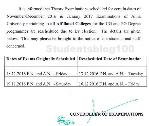 Anna University Nov/Dec 2016 UG/PG examination rescheduled due to election