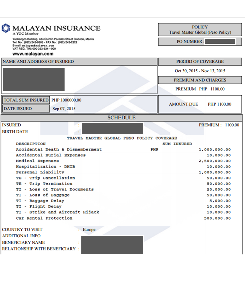Malayan Travel Insurance for Schengen Visa