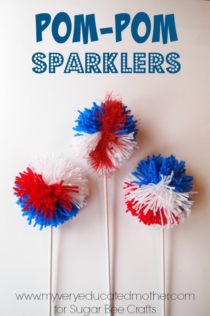 Great red, white, and blue craft for patriotic holidays! pom-pom sparklers!