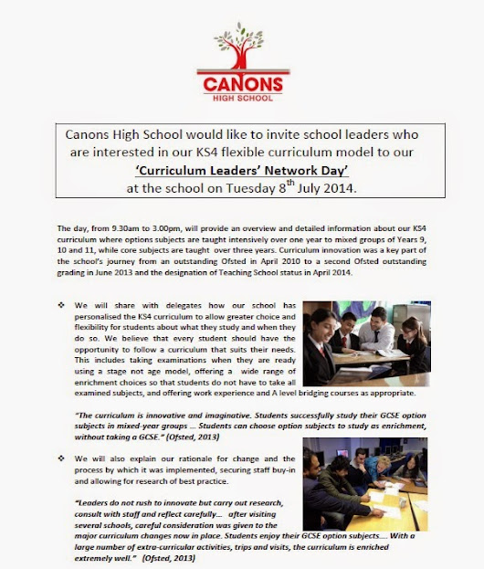 An Invitation to Canons' First Curriculum Leaders' Network Day
