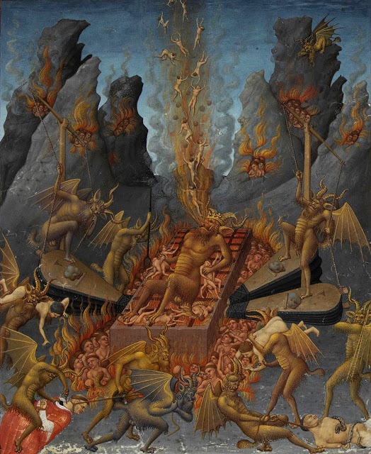 Depiction of hell, in the illuminated prayerbook, Très Riches Heures du duc de Berry, Folio 108, created between c. 1412 and 1416 by the Limbourg Brothers.