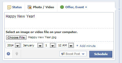 Scheduled Happy New Year on Facebook