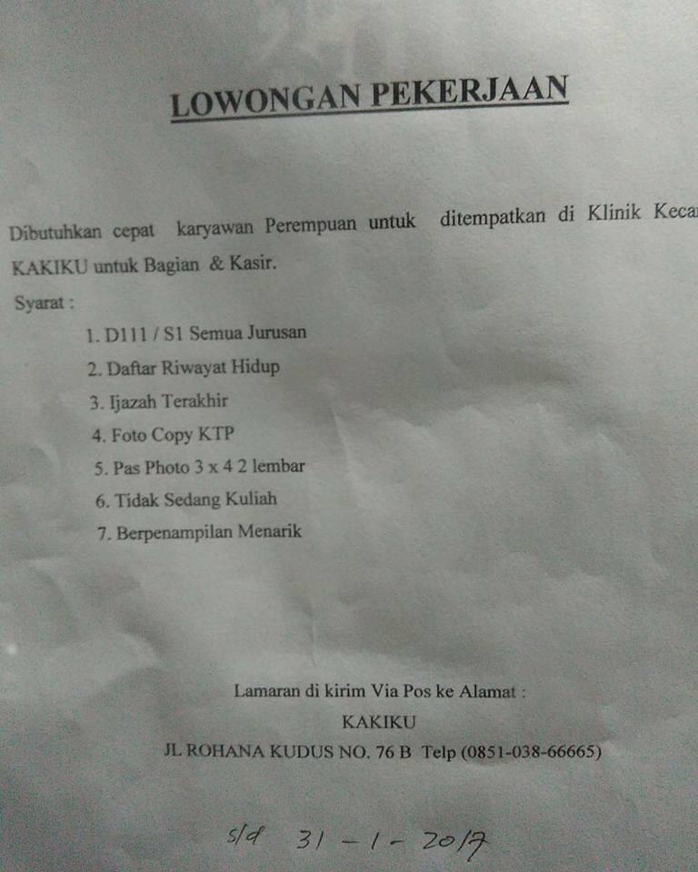 Lowongan Kerja di Padang – Klinik Kecantikan KAKIKU – Kasir (Penutupan 31-1-2017)