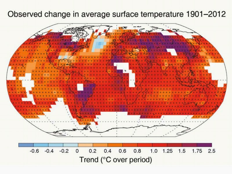 Observed change in average surface temperature 1901-2012.  White blocks indicate insufficient data. (Credit: UN IPCC) Click to enlarge.