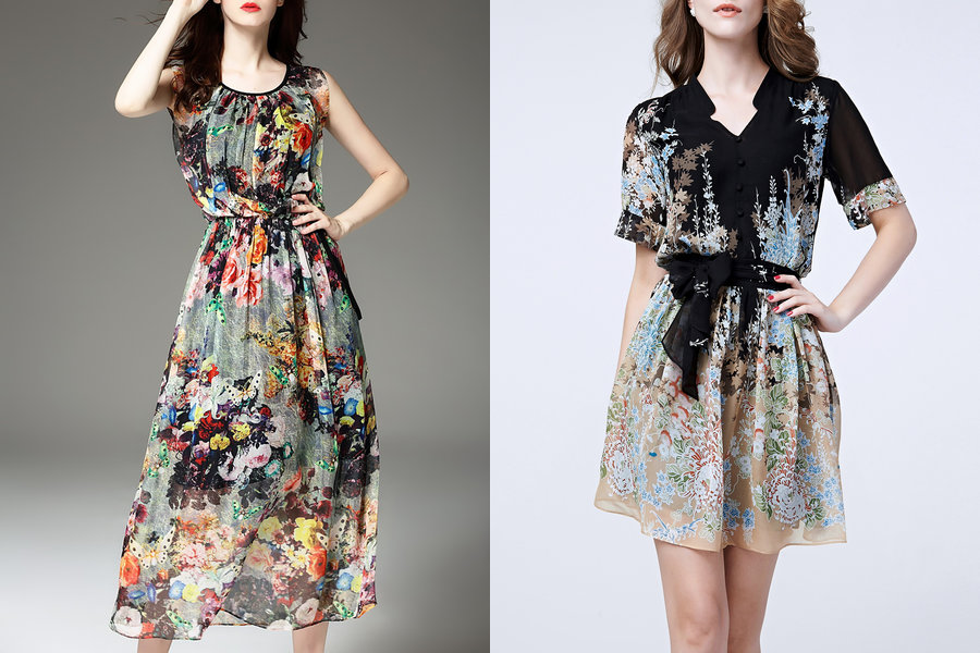 Vestidos florais nulticoloridos