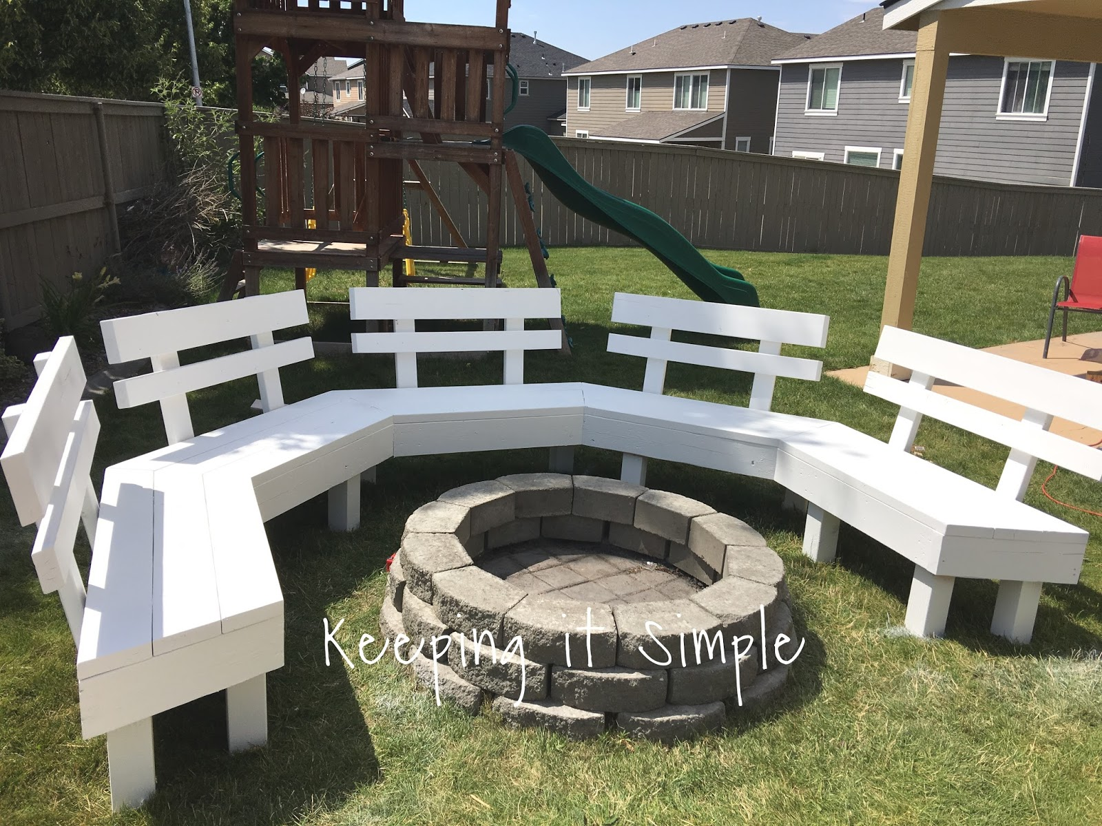 Awesome Diy Fire Pit Bench With Step By Step Insructions Keeping Bralicious Painted Fabric Chair Ideas Braliciousco