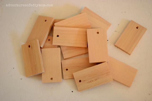 Use a paint stick to create wood tags