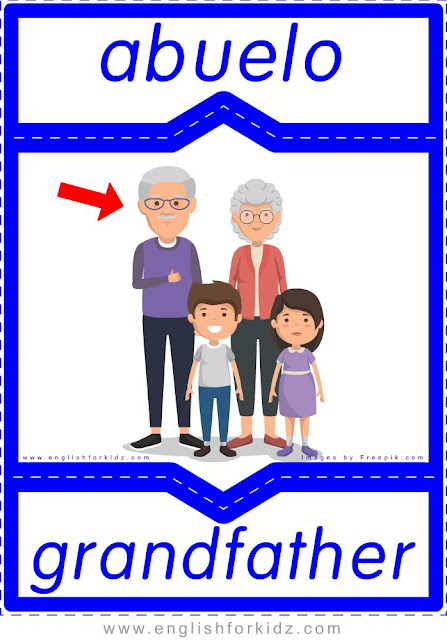 Grandfather English-Spanish flashcards for the family members topic