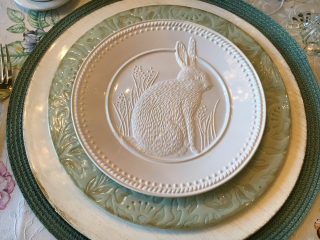 The salad plates are Pottery Barn dinner plates are Fitz and Floyd Toulouse. The chargers are from Hobby Lobby and the placemats are from Pier One. & Jo on Legacy Lane: Easter Tablescape and Decor