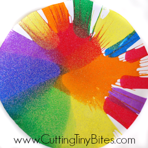 painting ideas for kids - colourful spin art