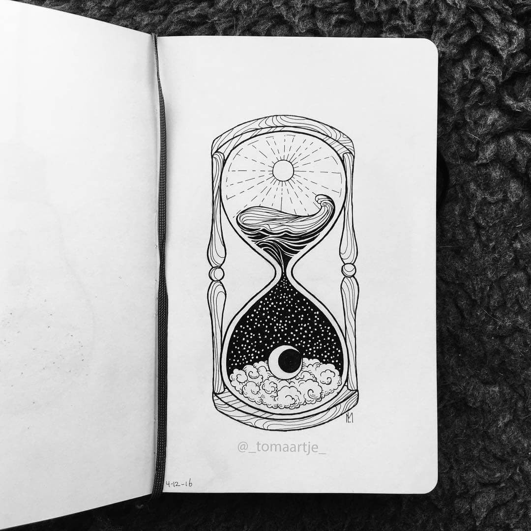07-Hourglass-Night-and-Day-Maartje-Ink-Drawings-Mostly-Enclosed-www-designstack-co
