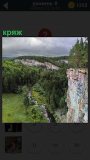 Небольшая долина с кряжем, крутой обрыв с правой стороны