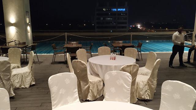 Pool side sitting Banquets Hotels
