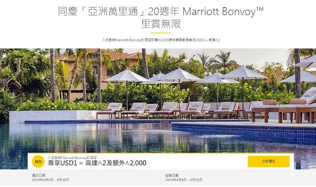 慶祝Asia Miles亞洲萬里通成立20周年,入住Marriott萬豪酒店即賺2,000周年慶里數獎賞及USD1 = 高達2里數(6/30前)