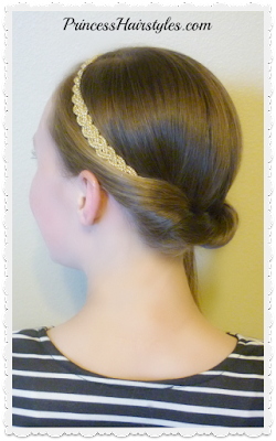 Easy side ponytail hairstyle with headband twist.
