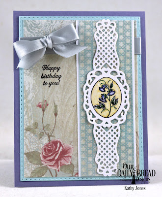 Our Daily Bread Designs Stamp Set:Lovely Flower, Paper Collection: Shabby Rose, Custom Dies:Fancy Fan, Double Stitched Rectangles