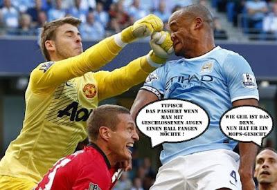 Fußballer Fotos lustig mit Text - Eins auf die Nase bekommen