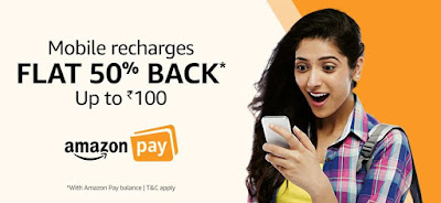 Amazon Recharge Offer: 50% Cashback On Recharge ( ALL USERS )