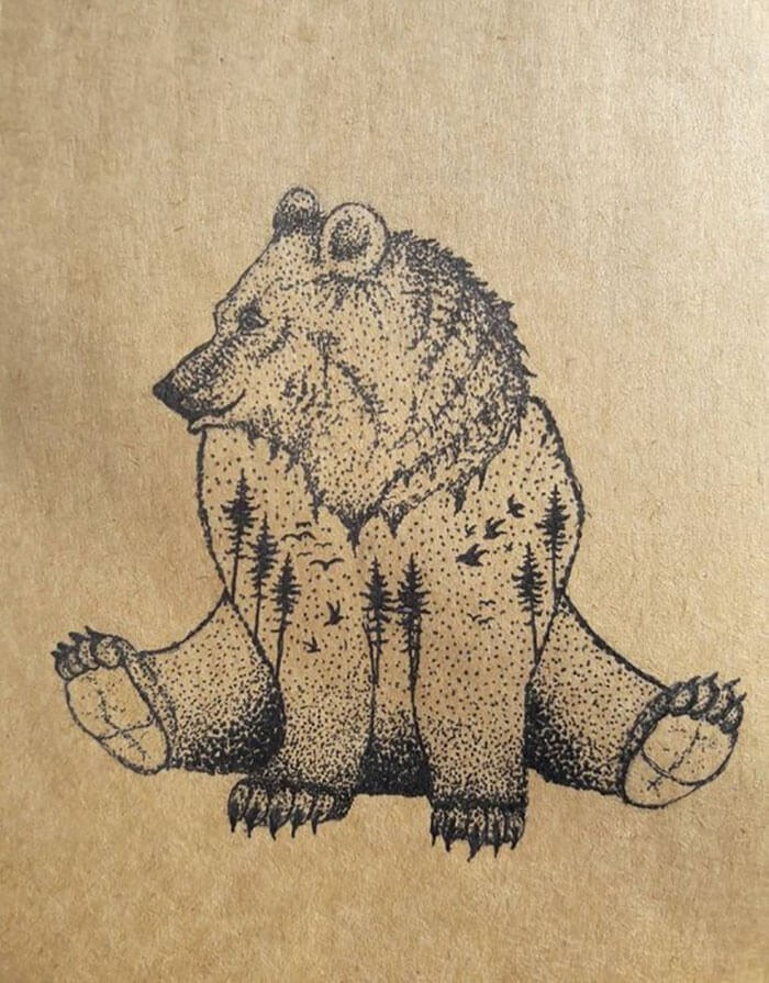 04-The-Bear-mARTin-Black-and-White-Stippling-Animal-Drawings-www-designstack-co