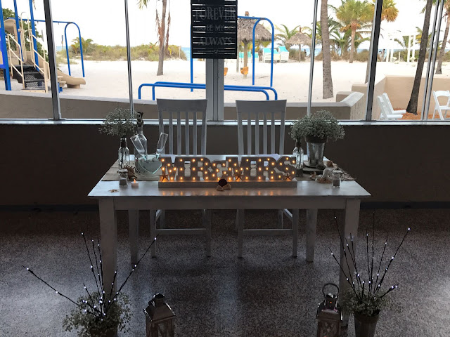 sweetheart table, stain painted tables, wedding beach wedding, sand, key biscayne, virginia key beach