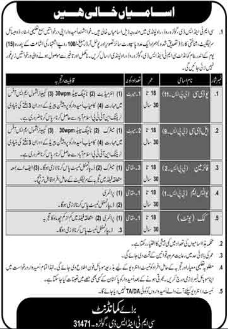 Pak Army Jobs 2020 CMT & SD Rawalpindi August Advertisement Latest
