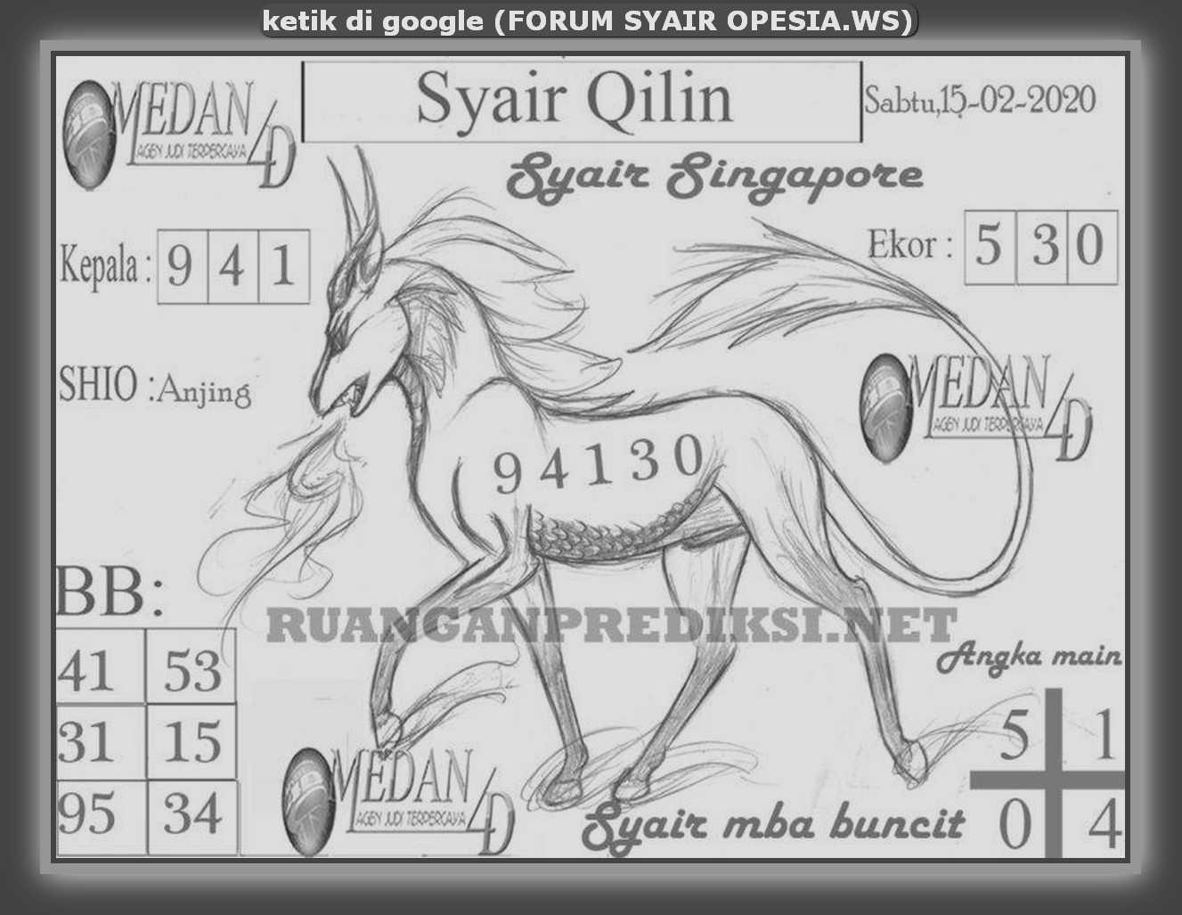 Kode syair Singapore Sabtu 15 Februari 2020 129