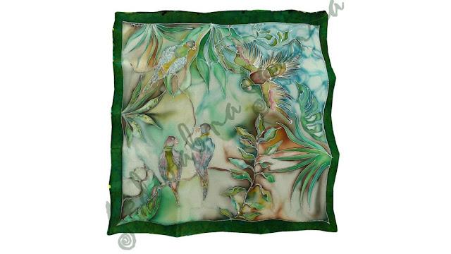 papużki malowane na jedwabiu, kolorystyka odcienie zieleni