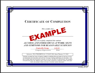 DOT Supervisor Training Certificate from Reasonable Suspicion Training