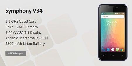 Symphony Xplorer V34 Smartphone