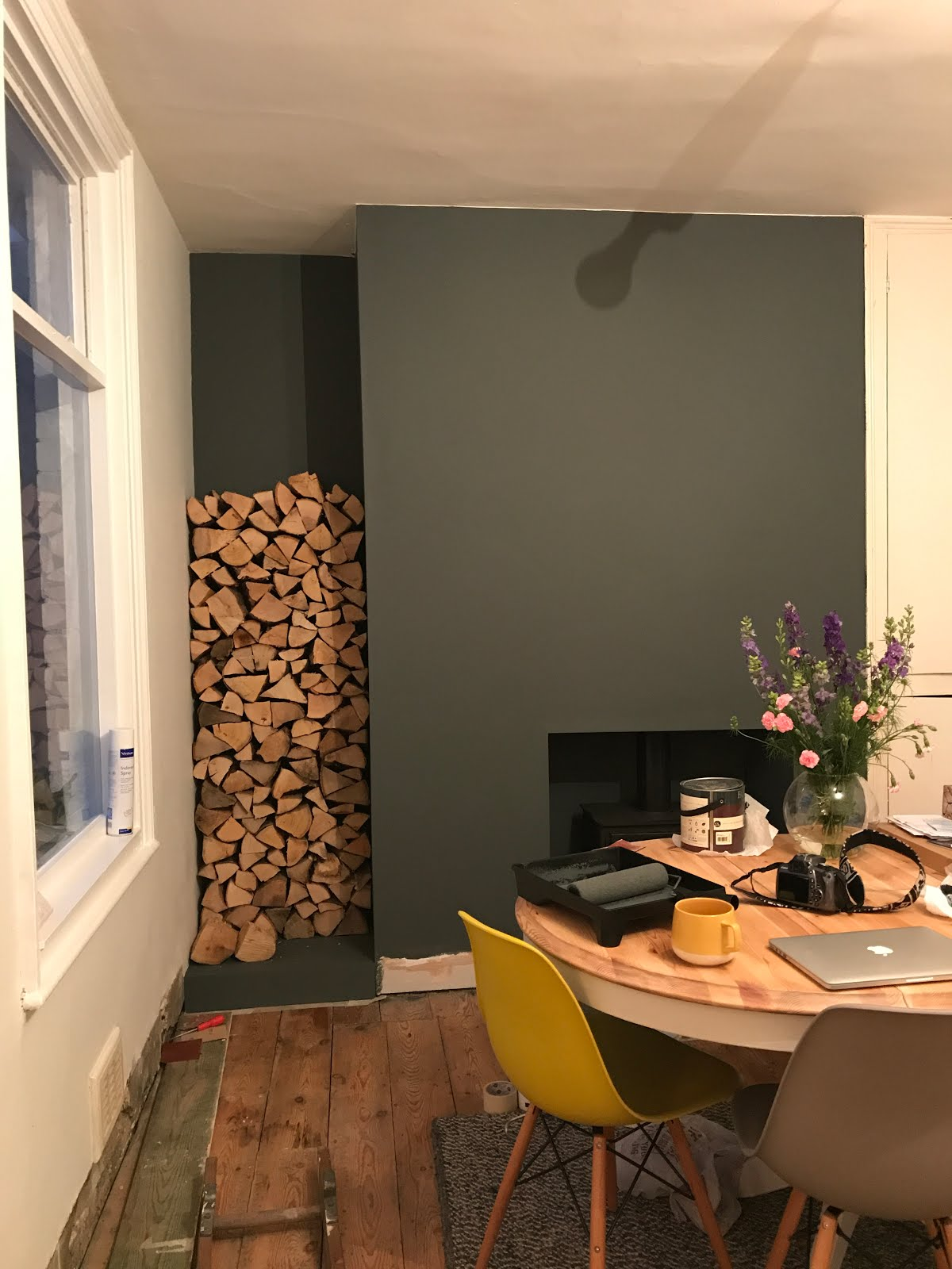 Log Stack in dining room