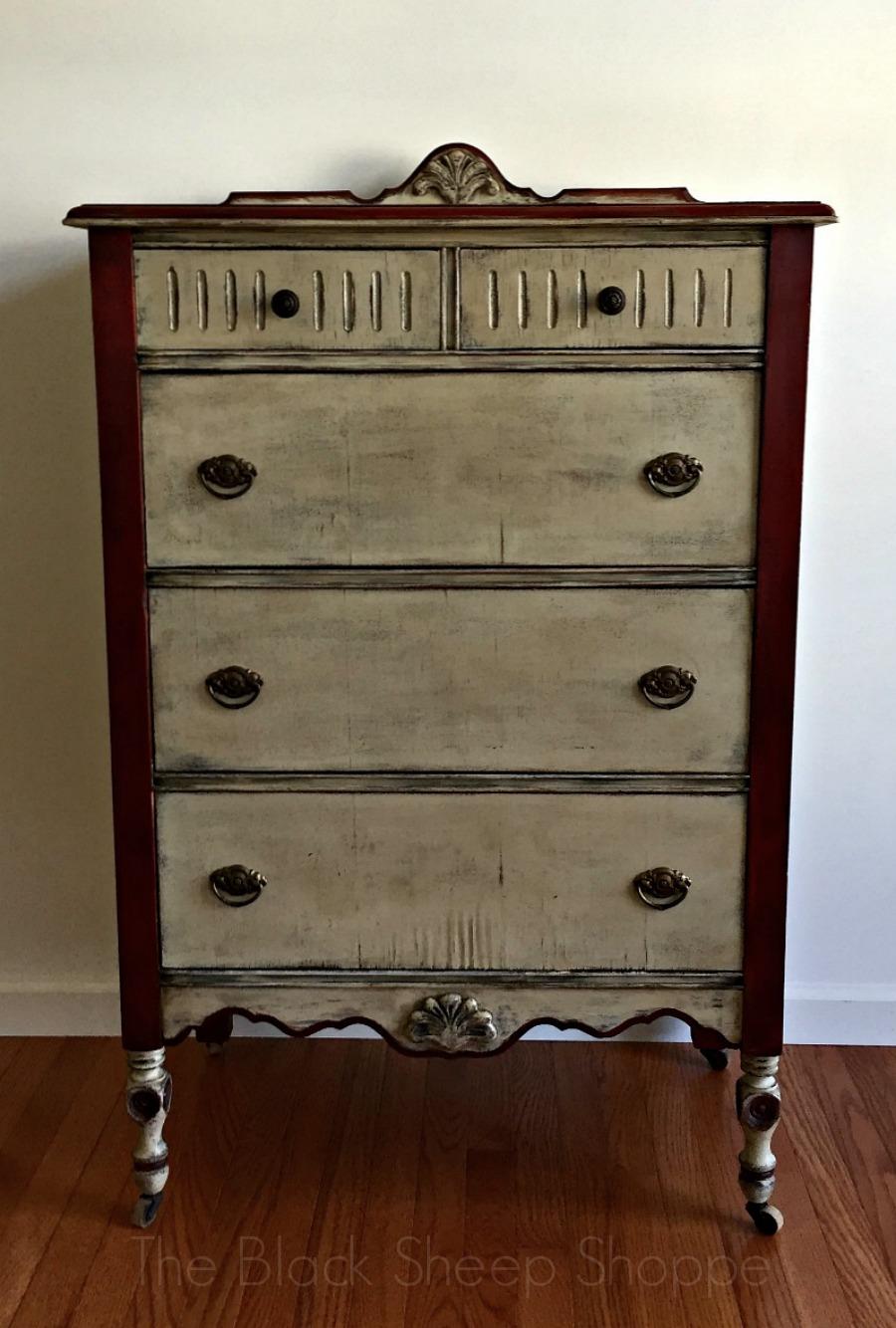 Painted vintage farmhouse dresser
