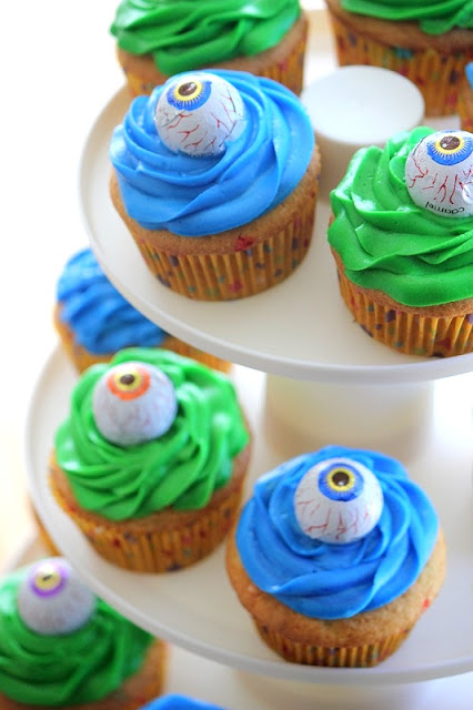 monster cupcakes with candy eyeballs