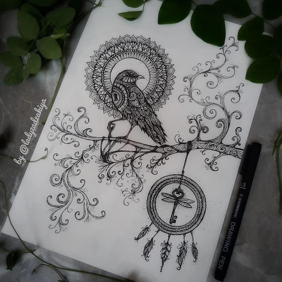 01-The Crow and the Dreamcatcher-Anugrah-Momof-Mandala-Art-www-designstack-co