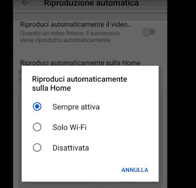 Disattivare riproduzione automatica video Youtube Home